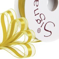 Organza Ribbons - Ribbon Organdina Satin Stripes Yellow (15mmx20m)