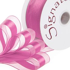 Organza Ribbons - Ribbon Organdina Satin Stripes Hot Pink (38mmx20m)