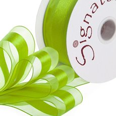 Organza Ribbons - Ribbon Organdina Satin Stripes Lime (38mmx20m)
