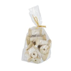 Windmill & Novelty Decorations - Decoration Jute on Spool Mix Sizes 12pcs White (7, 5, 3cmH)