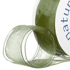 Ribbon Organza Wire Edge Moss (38mmx20m)