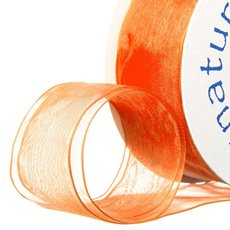 Ribbon Organza Wire Edge Orange (38mmx20m)