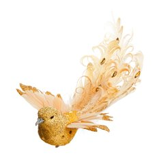 Bird Gemima with Clip Gold (19cm)