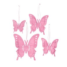 Hanging Butterfly Set of 4 Baby Pink (8,10,12,15cm)