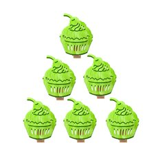 Decorative Pegs - Wooden Peg with Cup Cake Lime (40mm) Pack 6