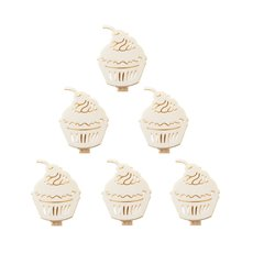 Wooden Peg with Cup Cake Natural White (40mm) Pack 6