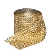 Corsage Bouquet Accessories - Diamante Square Mesh Roll 9.5cmWx9.14m Gold