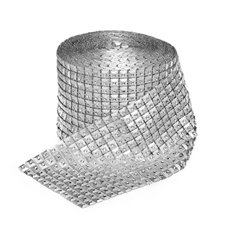 Diamante Square Mesh Roll 9.5cmWx9.14m Silver