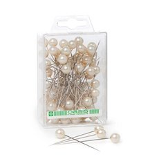 Round Pearl Head Pins Ivory (10mm x 6cm) 72 pcs