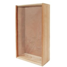 Wooden Wine Box - Double Wooden Wine Box Perspex Lid Natural (36.5x23x11.5cmH)
