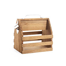Wooden Wine Box - Wooden Beer Bottle 6 Pack Carrier Natural (21.5x15.5x25cmH)