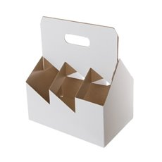 Wine Bottle Carrier Box x6 (178x267x305mmH) White Kraft