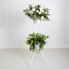 Flower Display Stand Double Bucket 115cmH White