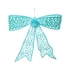 Flocked Large Bow Bright Blue (35cmx30cmH)