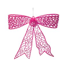 Flocked Large Bow Bright Hot Pink (35cmx30cmH)