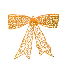 Flocked Large Bow Bright Orange (35cmx30cmH)