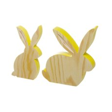 Crafted Wooden Rabbit Set of 2 Yellow (16cmH & 18cmH)
