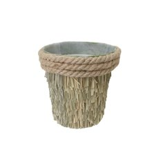 Grass Rope Pot with Plastic Insert Green (13x13cmH)