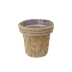 Grass Rope Pot with Plastic Insert Natural Brown (13x13cmH)