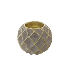 Cement Tealight or Taper Candle Holder Grey Gold (7.8x6.5cm)