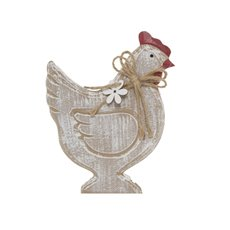 Wooden Craft Rooster White Wash (14x18cmH)