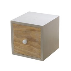 Wooden Craft Cabinet with Drawer Planter (12x12x12cm)