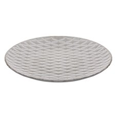 Wooden Craft Woven Pattern Decorative Plate White (39x4cm)