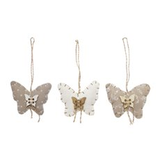 Christmas Tree Decorations - Hanging Fabric Butterfly Decoration Set 6 Natural(15x12cm)
