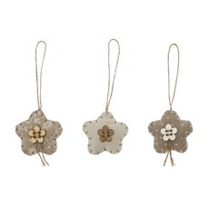 Christmas Tree Decorations - Hanging Fabric Flower Set 6 Natural (15x12cm)