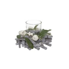 Candle Holders - Decorative Egg Candle Ring x1 Votive White (16.9cm)