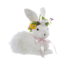 Natural Rabbit Sophia with Flower Headpiece (25x14x21cmH)
