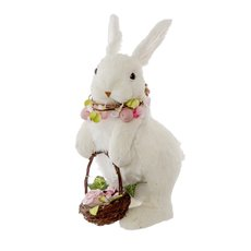 Easter Decoration & Decor - Rabbit Evelyn Standing with Flower Necklace (19x13x31cmH)