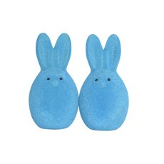 Easter Decoration & Decor - Flocked Bunny Head Bright Blue Pack 2 (15cmH)