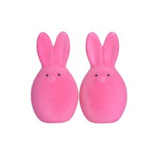 Easter Decoration & Decor - Flocked Bunny Head Hot Pink Pack 2 (15cmH)