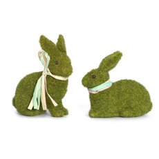 Easter Decoration & Decor - Flocked Rabbit Mix Designs Pack 2 Moss (13cmH)