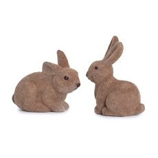 Easter Decoration & Decor - Flocked Rabbit Mix Designs Pack 2 Brown (13cmH)