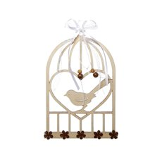 Wooden Birdcage Plaque Natural (18cmH)