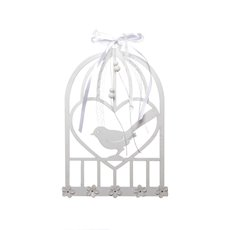 Wooden Birdcage Plaque White (18cmH)