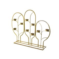 Reception Decoration - Metal Grecian Tealight Decoration x9 Gold (51x10x43cmH)
