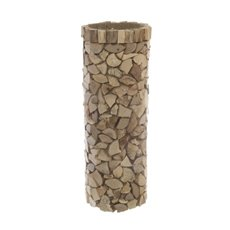 Wooden Slices Vase with Plastic Insert Natural (18x49cmH)
