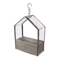 Garden Metal House with Wooden Box Large (25x12x33.5cmH)