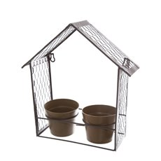 Garden Metal House with 2 Eco-Friendly Pots (32x11.5x33cmH)