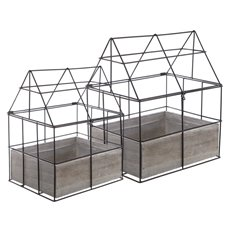 Urban Metal House with Wooden Box Set of 2 (25x20x31cmH)