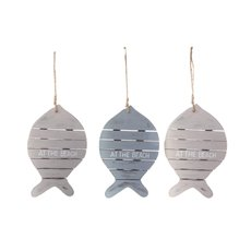 Coastal Hanging Fish Set 3 Decoration (25.5x17x2cm)