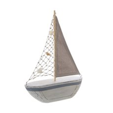 Coastal Boat with Jute Sail Antique White (24x6x34cm)