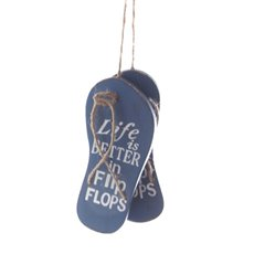 Coastal Wooden Hanging Thongs Antique Blue (6.8x15x2cm)