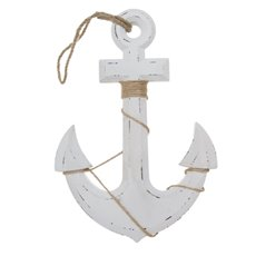 Coastal Wooden Anchor Antique White (23x33x1.5cm)