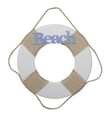 Coastal Wooden Beach Buoy Antique White (29cmD)