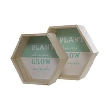 Coastal Wooden Hexagon Tray Shelf Set of 2 (26x9cm)