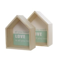 Home Seasonal Decorations - Wooden House Shadow Box Set of 2 Set of 2 (20x10x25cm)